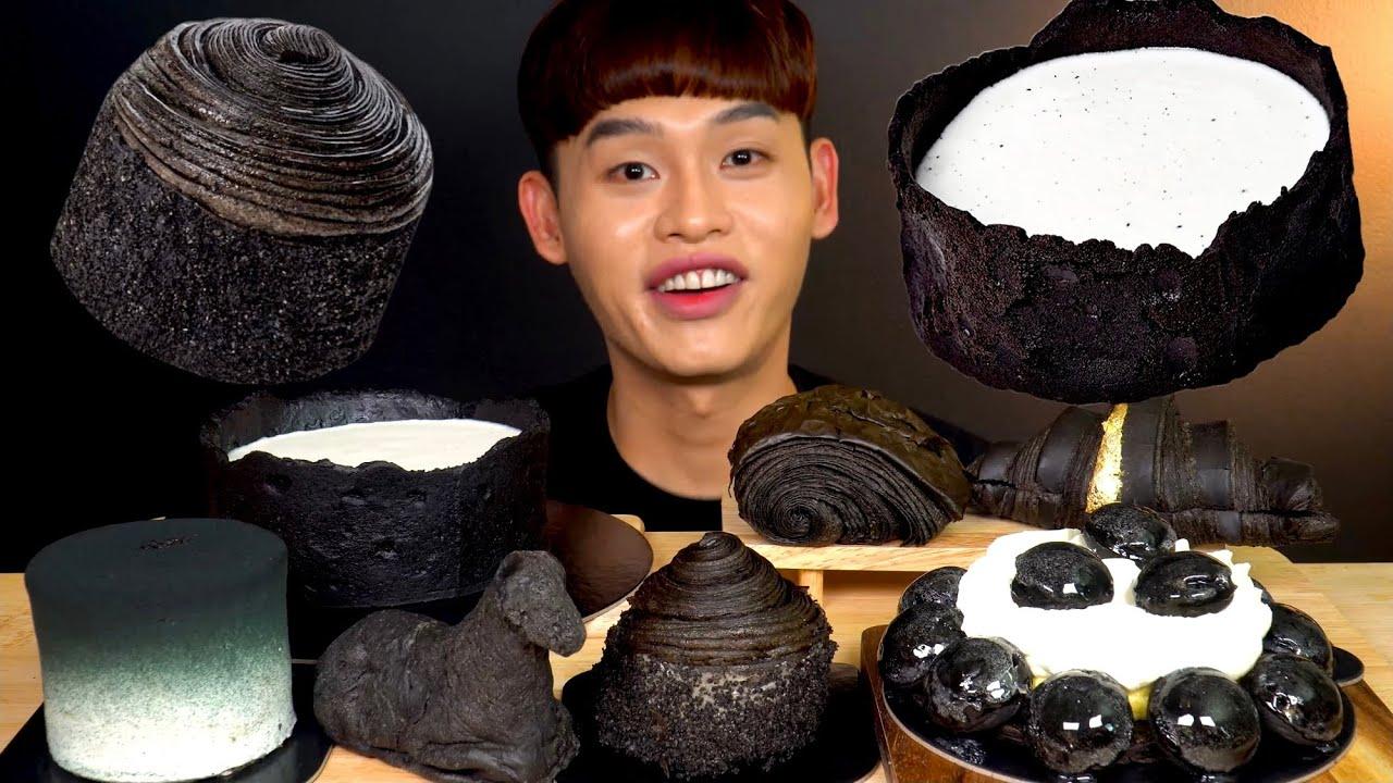 ASMR 블랙⚫️디저트 파티 크림치즈케이크 🐑빵 블랙 크루와상 먹방 Black Dessert Party Black Cakes Green Tea Cream Bread MuKbang