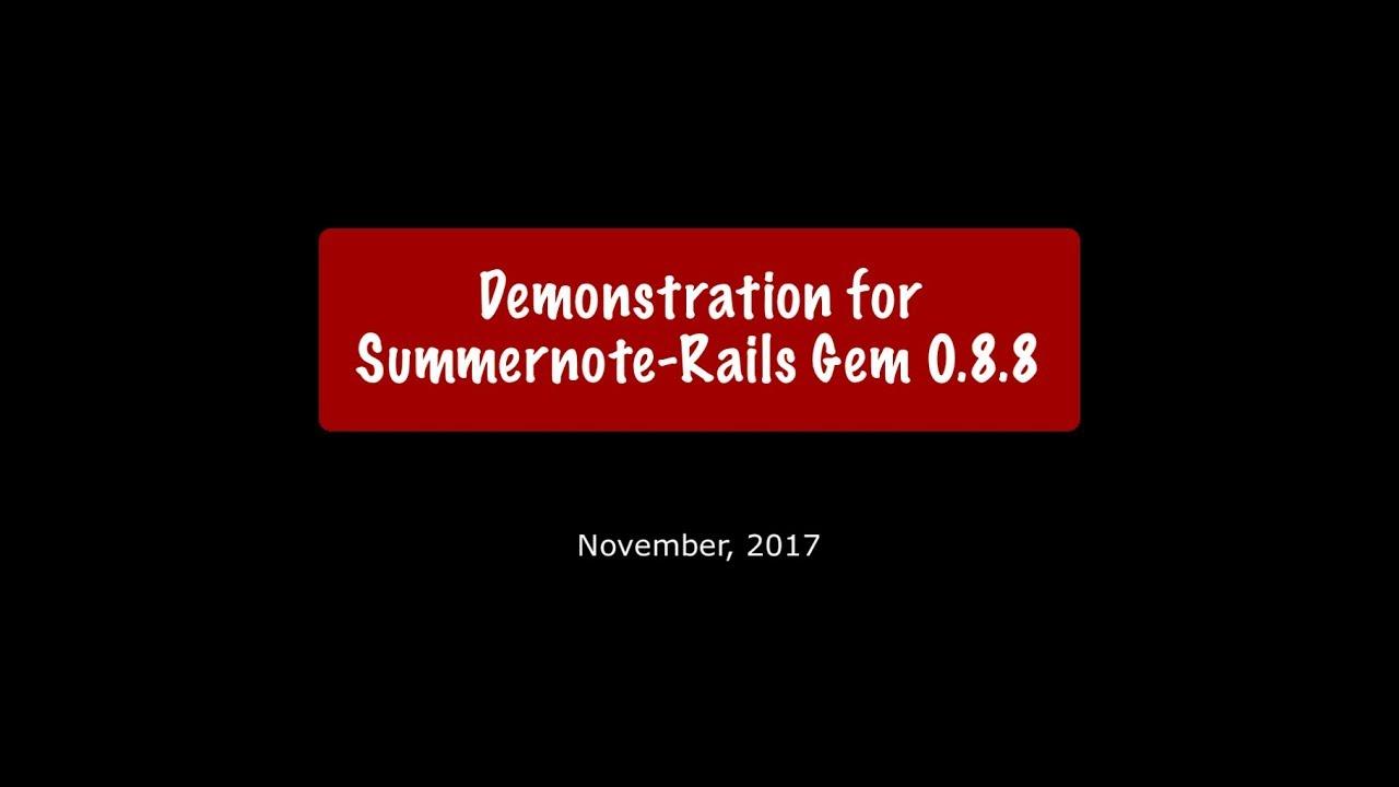 Summernote-rails Update(3) – Ruby & Rails