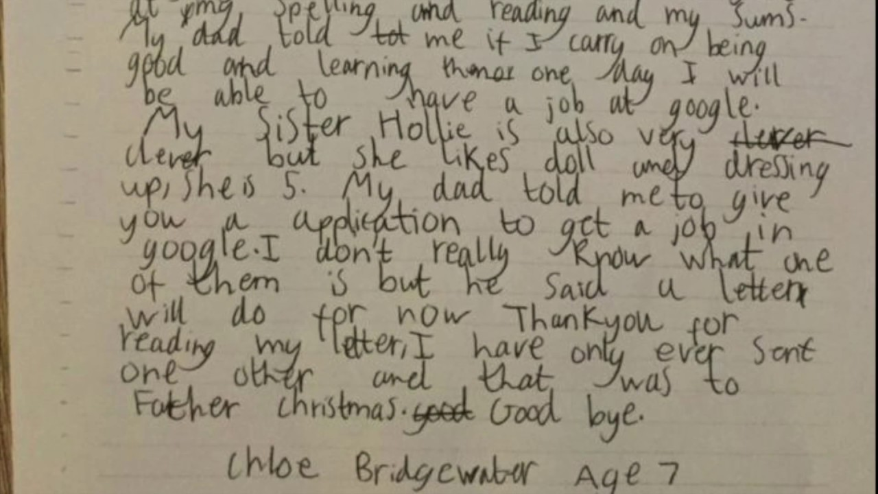 How to write an application letter 7 year old