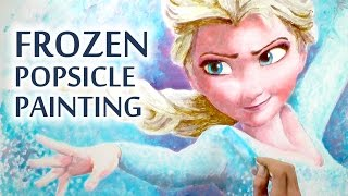 Frozen Popsicle Art : Painting Elsa With Popsicles - Timelapse Speed Drawing -ice Lolly Block Pop