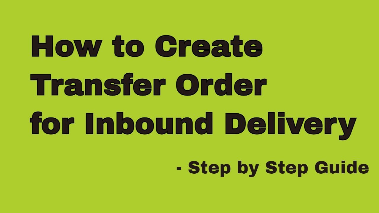 How to create a Transfer Order for an Inbound Delivery using LT03 - SAP WM  Basic video