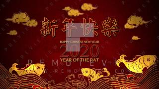 Happy Chinese lunar New Year 2020 Year of the Rat Greeting with carps
