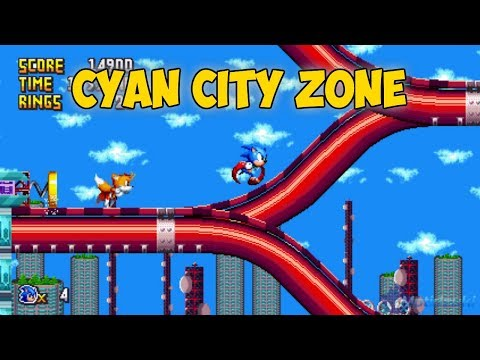 Cyan City Zone + ATS HUD | Sonic Mania Mods ⮚ Walkthrough