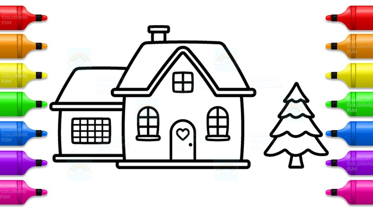 how to draw santa house and christmas tree fun coloring pages for kids