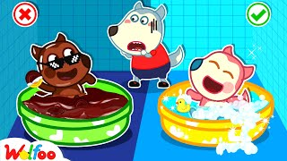 No No Chocolate Bath, Baby Jenny! - It's Bath Time! - Kids Stories About Baby   Wolfoo Family