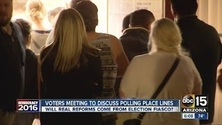 Voters meeting to discuss polling place lines
