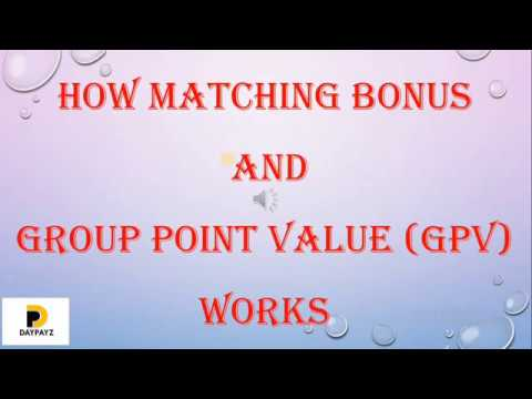 How Matching Bonus and Group Point value (GPV), works on Daypayz