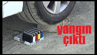 30 ÇAKMAK VS OTOMOBİL YANGIN ÇIKTI deney 30 LIGHTER VS CAR FIRE OUTPUT