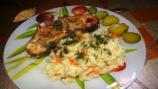 Рыба под соусом терияки с рисом и овощами#Овощи#Дети Готовят С Мамой#Рыба В Соусе Терияки