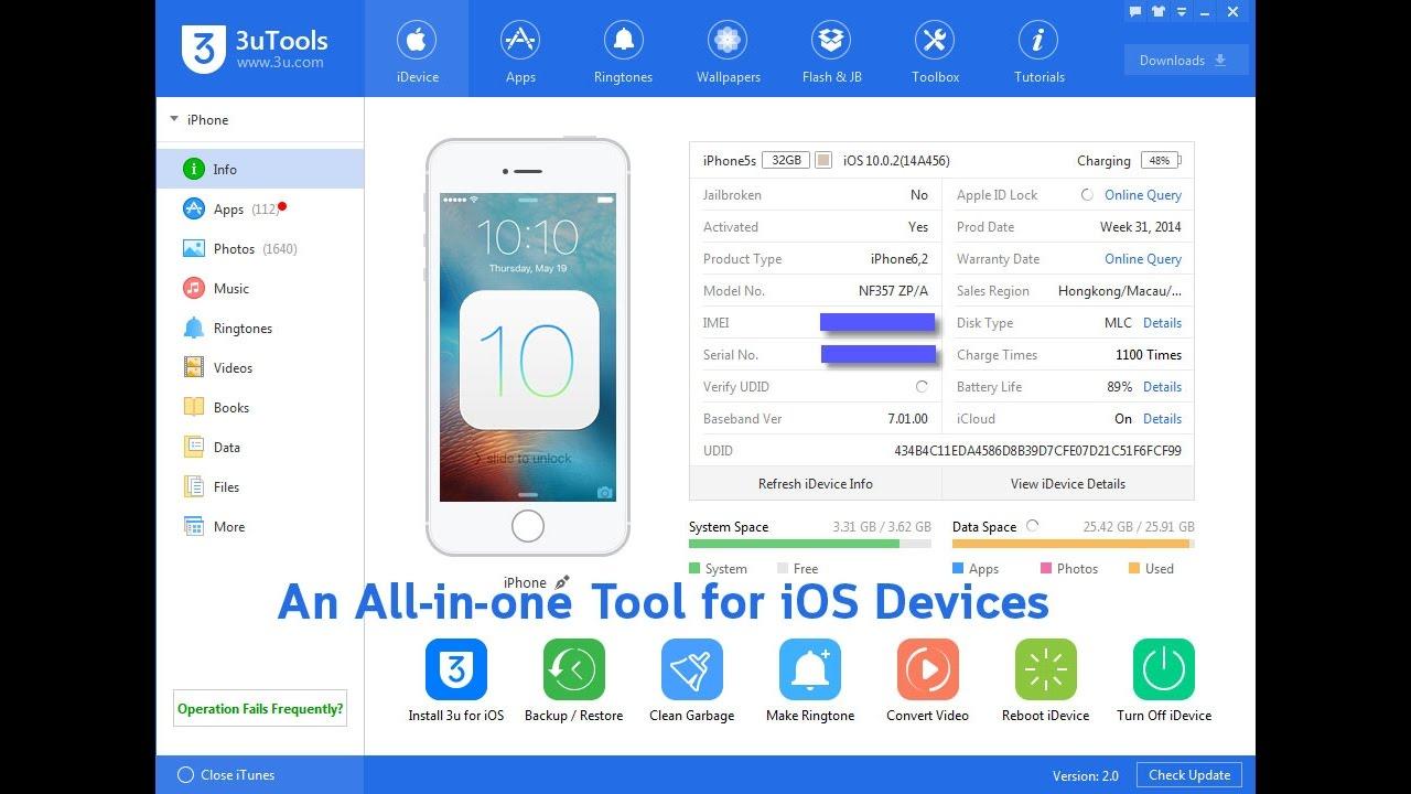 3uTools (iOS Files & Data Management) Support iOS 10 / iOS 11