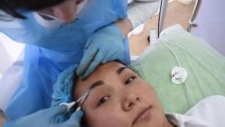 Перманентный макияж, татуаж бровей в технике напыление