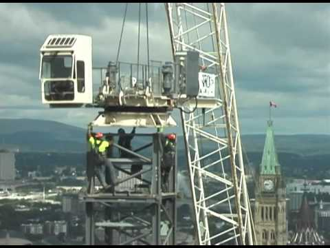 Big Tower Crane take-down in  Ottawa, Ontario, Canada.