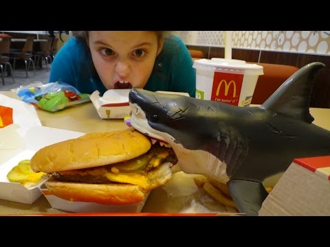 "Thumbnail: Feeding My Pet Shark McDonald's Chicken Nuggets Happy Meal Big Mac & Fries ""Toy Freaks"""