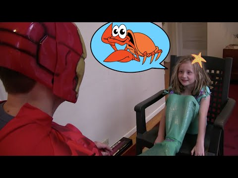 Ariel THE LITTLE MERMAID in a Nerf War with SPIDERMAN, IRON MAN, and BATMAN