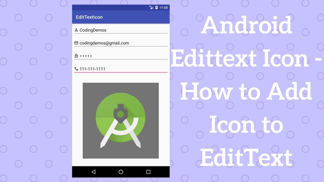 Android Edittext Icon - How to Add Icon to EditText - Coding Demos