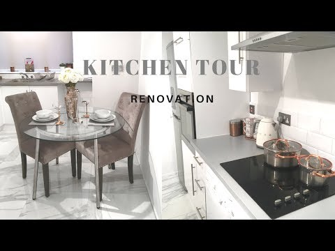 MY KITCHEN TOUR /LUXURY RENOVATION  Tons Of Tiles   Designing My Apartment On A budget   JV HOME