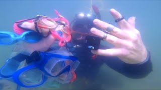 Metal Detecting DEEP WATER Gone Wrong!! Fish RESCUED FOUND Go Pro & Much More TREASURE Hookah Diving