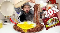 تحدي نودلز فول الصويا الكوري چاچاروني ۲۰ كيس مع بيضة نعامة كبيرة Black Bean Noodle + Ostrich Egg