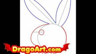 How to draw Playboy Bunny, step by step