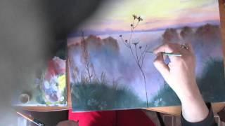 Пейзаж.Полевые цветы.Живопись маслом.Видео урок.