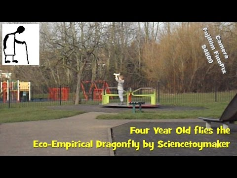 Four Year Old flies the Eco Empirical Dragonfly by Sciencetoymaker