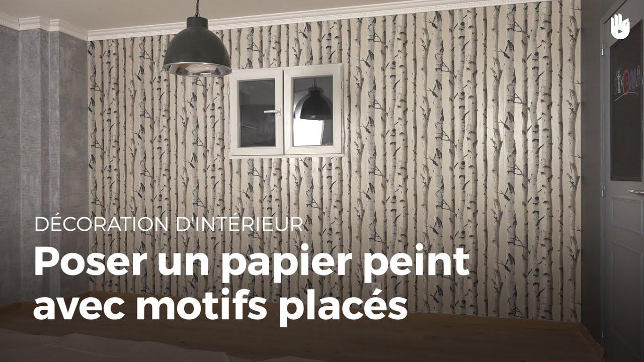 Papier Peint À Motifs en ce qui concerne poser un papier peint à motifs placés | bricolage - youtube