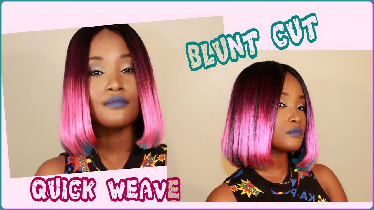 Blunt cut middle part bob pink and blue green quick weave blunt cut middle part bob pink and blue green quick weave kemiixo youtube solutioingenieria Image collections