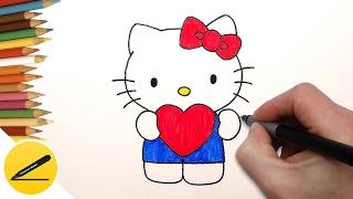 How to Draw Hello Kitty with Love Heart ❤ Как Нарисовать Хелло Китти на Валентинку