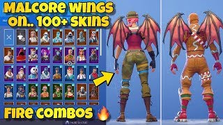 "NEW ""MALCORE WINGS"" BACK BLING Showcased With 100+ SKINS! Fortnite Battle Royale - NEW MALCORE SKIN"