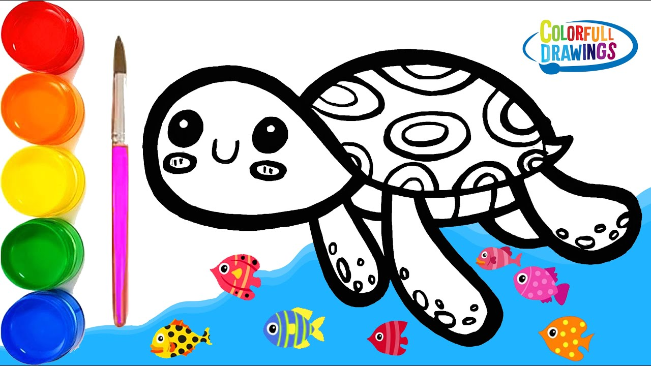 Glitter Cute Turtle Coloring - Learn Animals and Colors for Kids ...