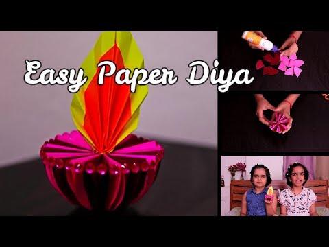 Diwali decorations || Paper Diya || easy craft ideas || SaanveeKhushee