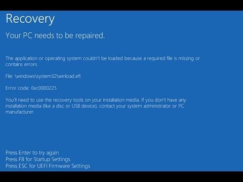 FIX Error Code: 0xc0000225 at boot in Windows 10 | WORKS 100%