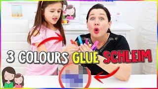 3 FARBEN KLEBER SCHLEIM CHALLENGE - 3 Colors of Glue Slime Challenge - Alles Ava
