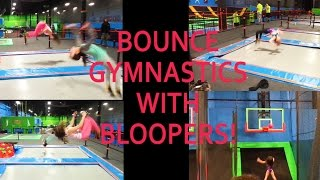 GYMNASTICS TRICKS & FLIPS ON TRAMPOLINES AT BOUNCE SPORTS W/ FAILS!