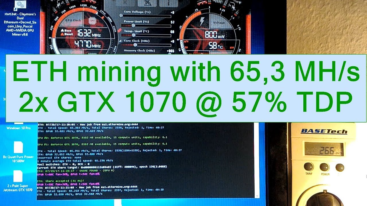 Ethereum mining with 2 GTX 1070 65,3 MHs @ 57% Power Limit