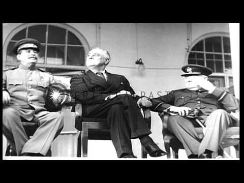 Winston Churchill, Franklin Roosevelt and Joseph Stalin pose for photographs in T...HD Stock Footage