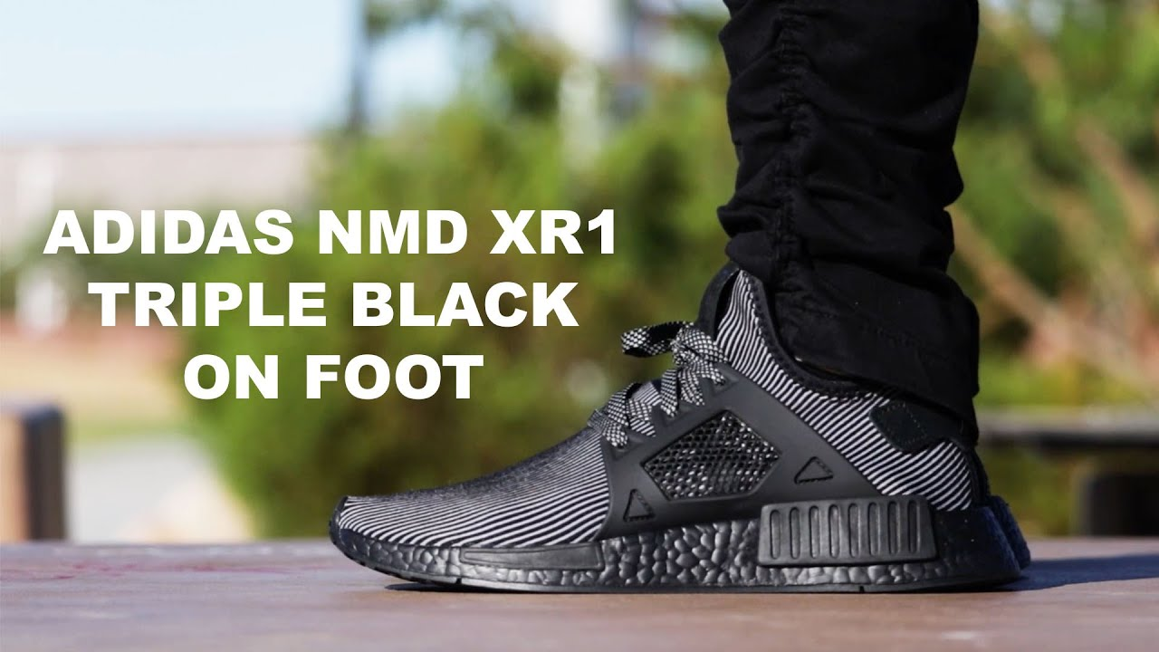 2ca15c2c5ffdc ADIDAS NMD PK XR1 TRIPLE BLACK ON FOOT - YouTube