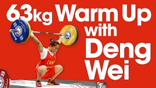 63kg Warm Up Area at 2015 Worlds with Deng Wei Tima Turieva