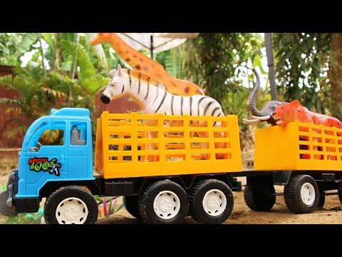 รถบรรทุกขนสัตว์ช่วยเหลือสัตว์ป่าน้ำท่วม วีดีโอสำหรับเด็ก