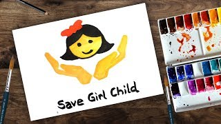 save the girl child poster drawing -
