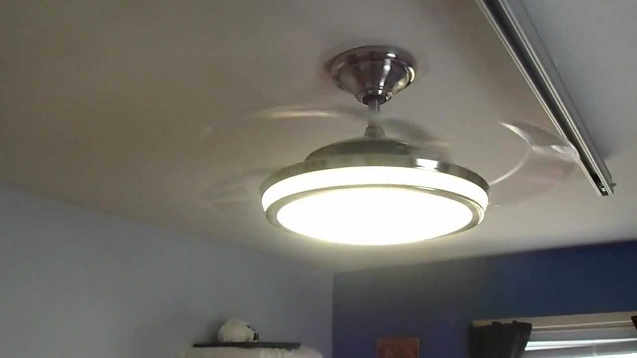 Ceiling Fan With Folding Blades Hunter Fanaway Retractable Blade Ceiling Fan In Action