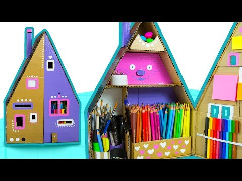 DIY Desk Organizer #3 - How To Paint The Cardboard House   DIY Crafts for Kids on Box Yourself
