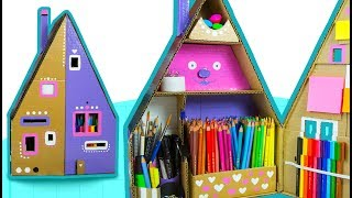 DIY Desk Organizer #3 - How To Paint The Cardboard House | DIY Crafts for Kids on Box Yourself