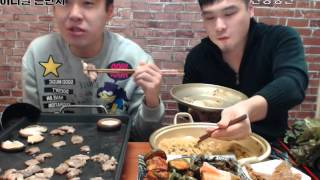 먹방BJ떵개입니다 개떵이형이랑 고기먹방 꽃등심 돼지가브리살 안성탕면먹방 Hello!  Eating Show bj  ddung gae