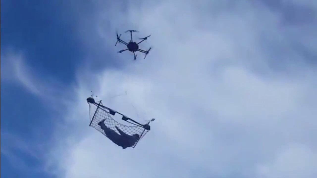 Drone Carrying A Person On Hammock