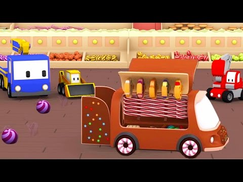 The Candy Shop - Learn with Tiny Trucks : bulldozer, crane, excavator | Cartoon for toddlers