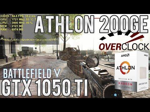 Athlon 200GE Overclockado - 700 Mhz a mais fizeram milagre! Teste Experimental em BF5 Multiplayer
