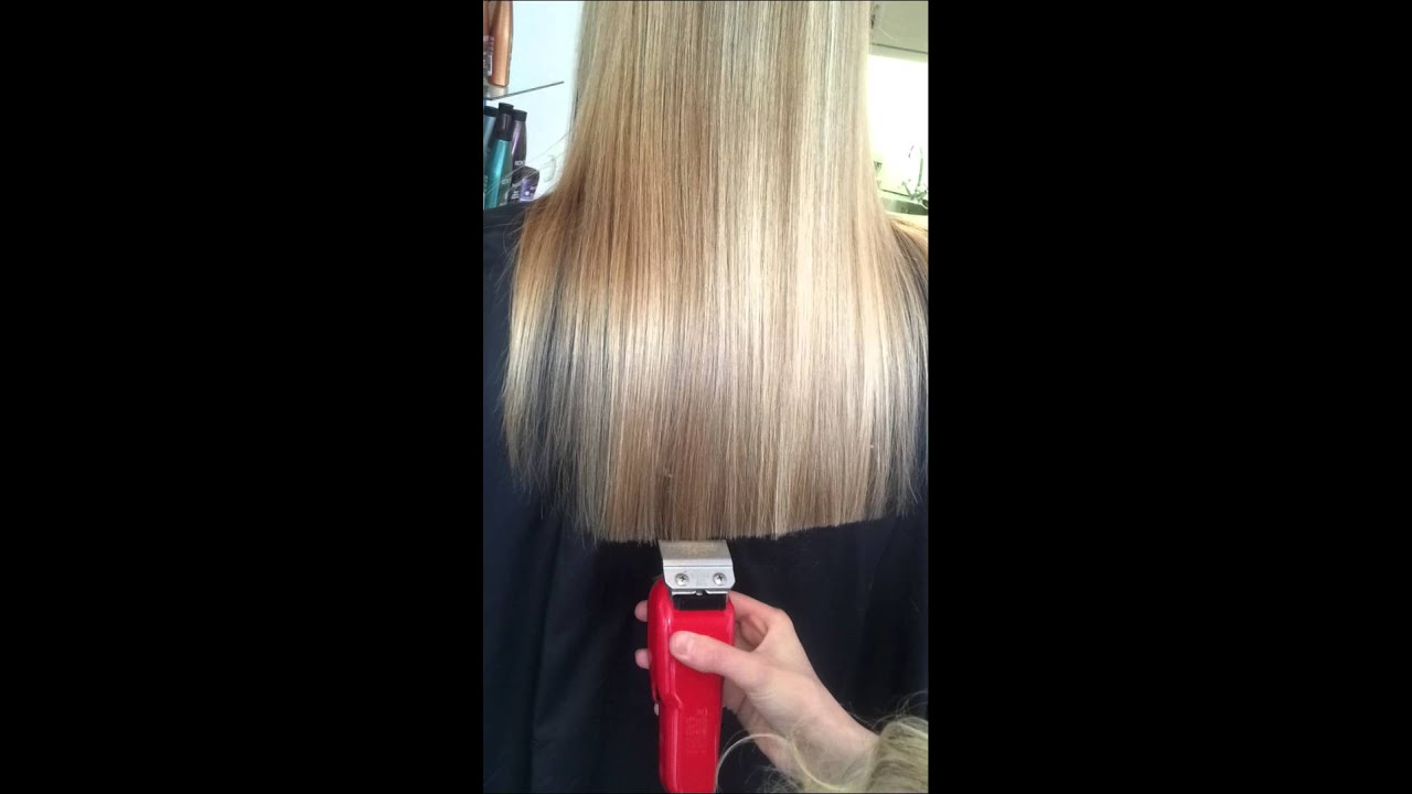 cutting long hair with clipper