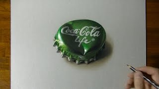 Drawing a Coca-Cola Life Bottle Cap - 3D art