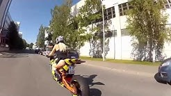 Hot Blond Girl FLASH Her ASS in Rides Bike RC8R !!!